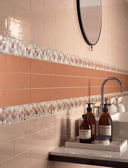 Декоративная керамическая плитка под кирпичную кладку в розоватых тонах