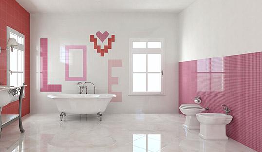 Глянцевая розовая плитка для ванной 10х10 см