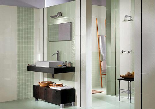 Светло-оливковая плитка для ванной комнаты
