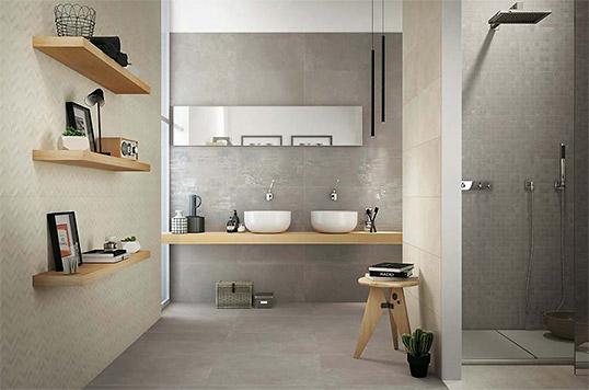 Популярная серая плитка для ванной комнаты