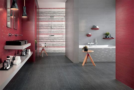 Матовая плитка серого цвета для ванной комнаты