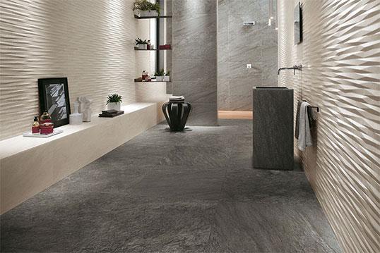 Плитка для ванной комнаты в серых тонах