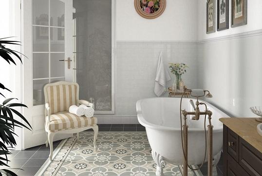 Серая плитка с викторианским орнаментом для ванной