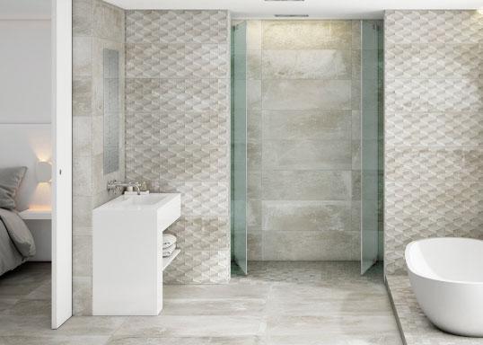 Серая плитка под бетон в ванную комнату