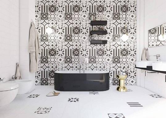 Серая плитка с рисунком пэчворк для ванной, новинка 2017