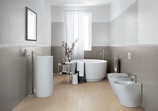 Серая керамическая плитка для ванной