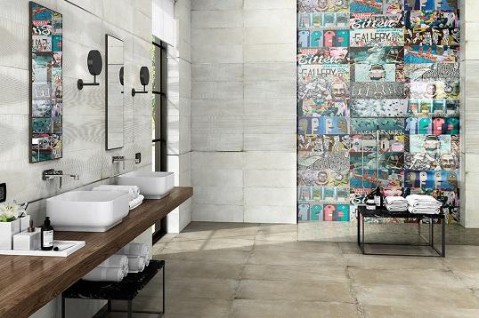 Серая плитка под цемент с декорами граффити, новинка 2017