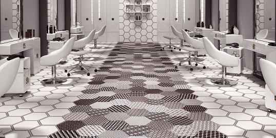 Шестиугольная плитка с черно-белыми паттернами