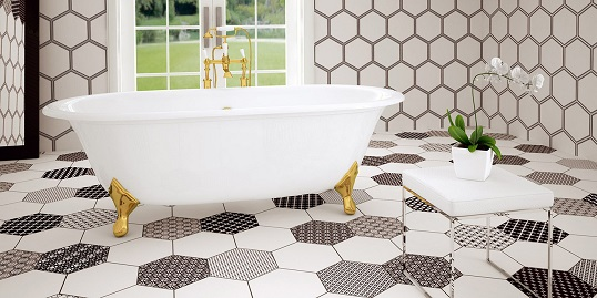 Белая плитка шестиугольной формы с оригинальным дизайном