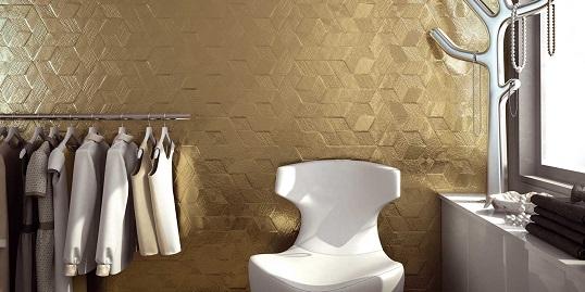 Шестиугольная плитка с тканевым тиснением под золото