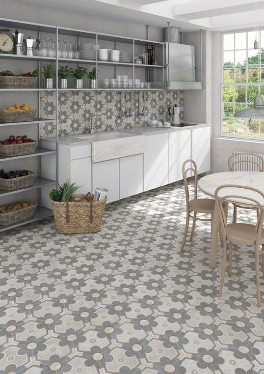 Дизайнерская плитка шестиугольной формы с цветочным принтом