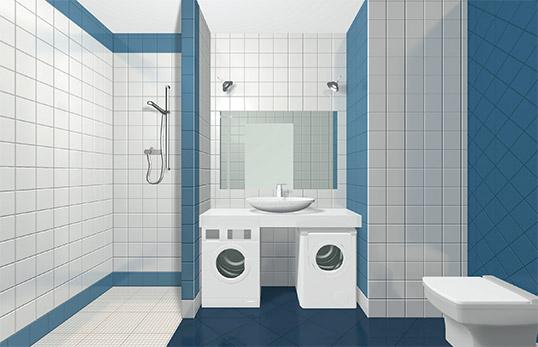 Синяя керамическая плитка для ванной, моноколор