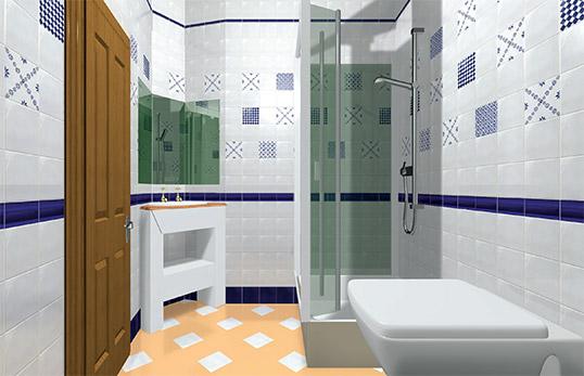 Синяя плитка для маленькой ванной комнаты