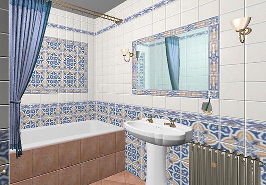 Синяя плитка для ванной в стиле азулежу
