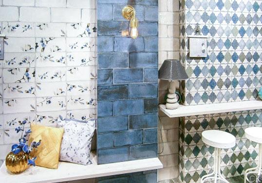 Синяя плитка для ванной под кирпич, новинка 2016