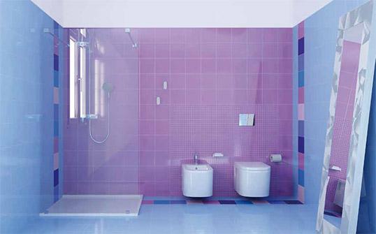 Сиреневая плитка для ванной, глянцевая