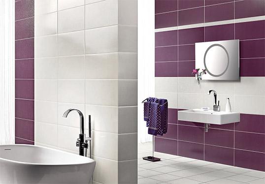 Сиреневая плитка для ванной комнаты