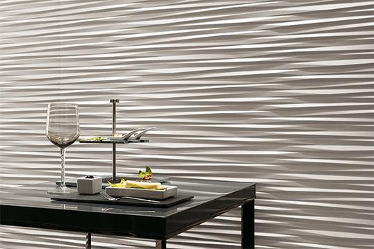 Белая рельефная керамическая плитка