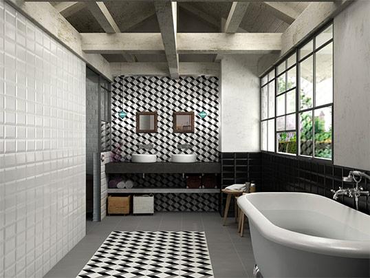 Дизайнерская плитка и керамогранит с рисунком куб