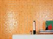 Настенная оранжевая плитка под мозаику
