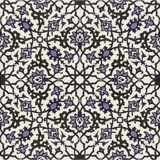 """Ковровая плитка в восточном стиле с пестрым орнаментом """"ислими"""""""