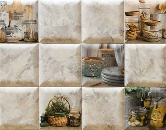 Выпуклая плитка для кухни, под камень
