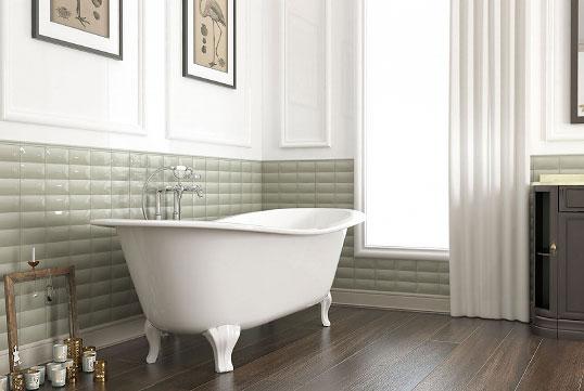 Светло-зеленая плитка для ванной