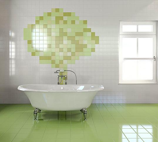 Зеленая плитка в ванную, 10х10 см